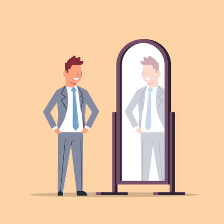 businessman trying on new business suit elegant man looking at mirror male cartoon character full length flat vector illustration