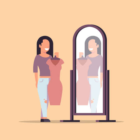 brunette woman trying on new dress elegant lady looking at mirror fashion shop female cartoon character full length flat vector illustration Illustration