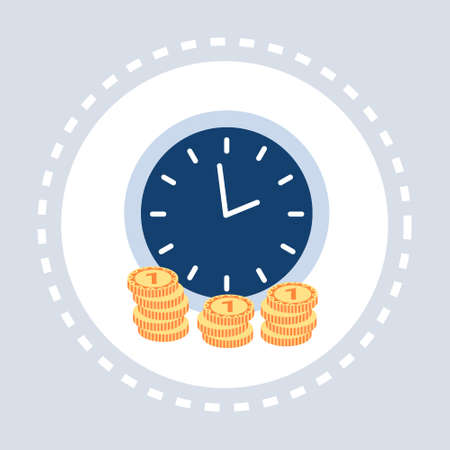 clock with golden coins time is money deadline concept flat isolated vector illustration