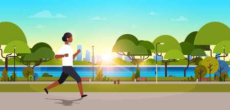 african american woman jogging outdoors modern public park girl headphones running sport activity concept cityscape sunset background horizontal banner flat vector illustration
