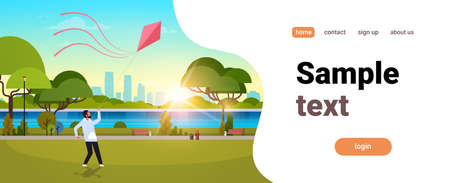 young man launching kite outdoors modern public park guy playing wind toy holiday concept cityscape sunset background horizontal flat copy space vector illustration Illustration