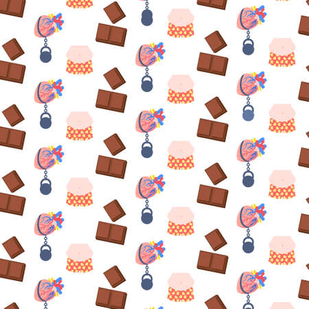 obese overweight fat human big belly dark chocolate heavy weight load on heart unhealthy lifestyle concept seamless pattern flat vector illustration