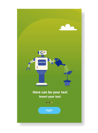 modern robot watering plant house helper bot futuristic artificial intelligence mechanism housekeeping technology flat vertical copy space vector illustration