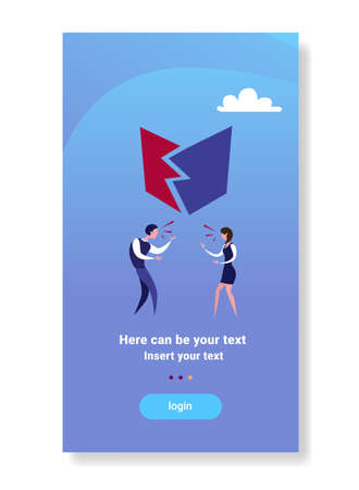 business couple angry shouting conflict concept furious businessman woman emotional talking flat vertical copy space vector illustration