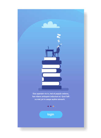 tired businessman sleeping workplace book stack education hardworking fatigued business man flat vertical copy space vector illustration