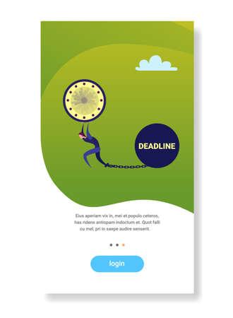 businessman holding clock chain bound leg bomb deadline concept flat vertical copy space vector illustration