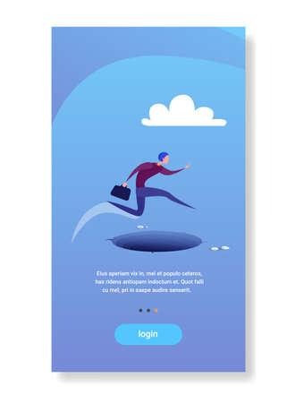 businessman jump over gap abyss business man risk concept flat vertical copy space vector illustration Illustration