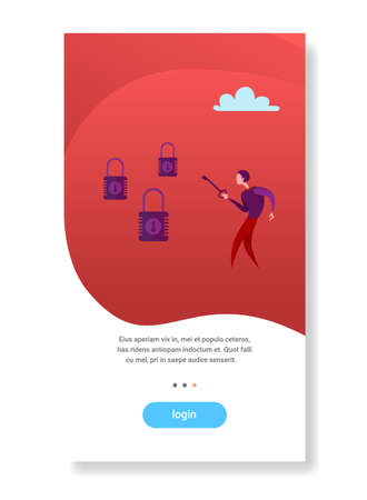 businessman holding key choosing padlock opportunity decision access concept flat vertical copy space vector illustration  イラスト・ベクター素材