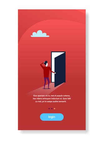 businessman standing open door new opportunity future concept flat vertical copy space vector illustration Stock Photo