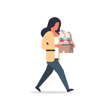 busy businesswoman carrying paper box stack of documents overloaded business woman office worker going female cartoon character full length flat isolated vector illustration