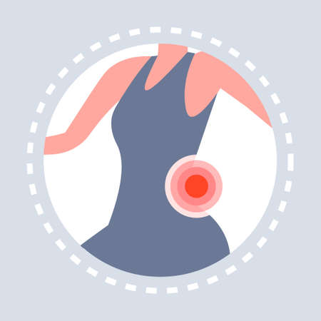 back injury feeling joint pain womans body icon painful area highlighted in red healthcare medical service medicine and health symbol concept flat vector illustration