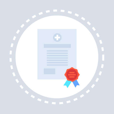 medical form document certificate icon healthcare service medicine and health symbol concept flat vector illustration