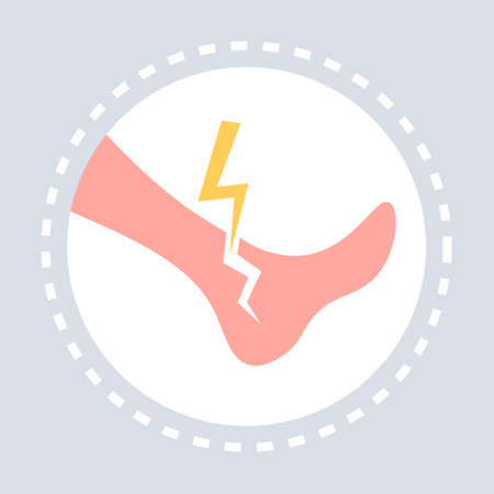 broken cracked ankle injury human leg icon healthcare medical service medicine and health symbol concept flat vector illustration