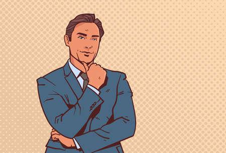 businessman hold hand finger on chin business man pondering male cartoon character portrait pop art style horizontal vector illustration