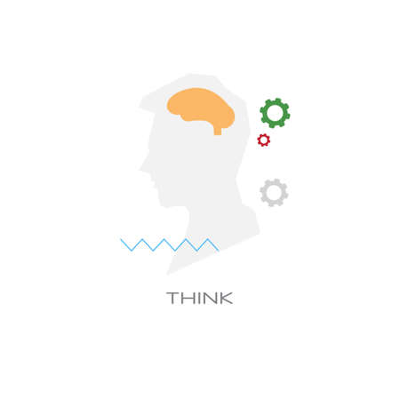 creative imagination process think new idea brainstorming concept line style isolated vector illustration Vectores