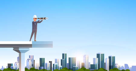 mannelijke ingenieur in pak en helm op zoek naar een verrekijker staande onvoltooide brug toekomstige strategie concept over moderne stad wolkenkrabber stadsgezicht vlak en horizontaal vectorillustratie