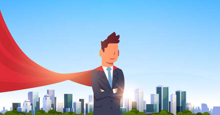 businessman wearing red super hero cape representing business power and courage leadership success concept over big modern city skyscraper cityscape skyline flat horizontal vector illustration  イラスト・ベクター素材