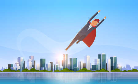 businessman wearing red super hero cape success concept business man flying over big modern city building skyscraper cityscape skyline flat horizontal vector illustration