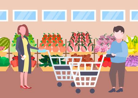 man woman customers holding trolley cart buying fresh organic fruits vegetables modern supermarket shopping mall interior cartoon characters full length flat horizontal vector illustration