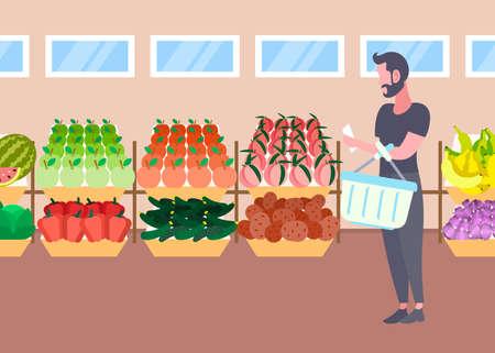 customer man with basket buying fresh organic fruits vegetables modern supermarket shopping mall interior male cartoon character full length flat horizontal vector illustration