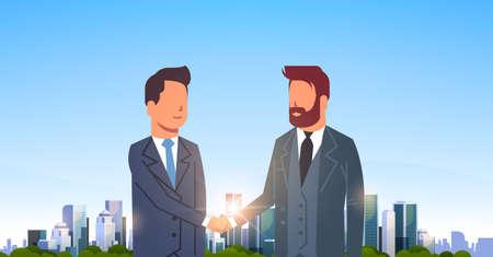 twee zakenlieden handen schudden partners succesvolle overeenkomst zakelijke deal hand schudden concept over grote moderne stad gebouw wolkenkrabber stadsgezicht skyline vlak en horizontaal vectorillustratie Vector Illustratie