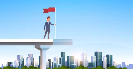 uomo d'affari che tiene bandiera rossa bordo in piedi ponte incompiuto concetto di successo uomo d'affari su città moderna grattacielo paesaggio urbano piatto orizzontale illustrazione vettoriale