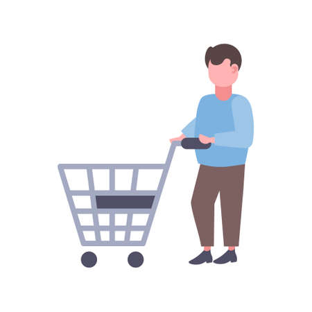 man holding trolley cart buying products big shopping concept supermarket customer male cartoon character full length flat isolated vector illustration Illusztráció