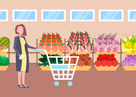 customer woman holding trolley cart buying fresh organic fruits vegetables modern supermarket shopping mall interior female cartoon character full length flat horizontal vector illustration