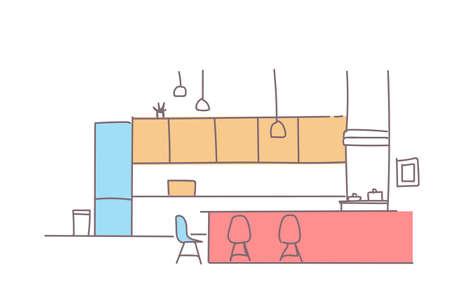 modern kitchen interior empty house room furniture sketch doodle horizontal vector illustration Vectores