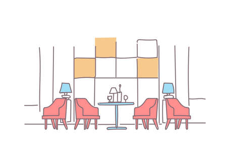 modern family cafe interior empty restaurant room furniture sketch doodle horizontal vector illustration