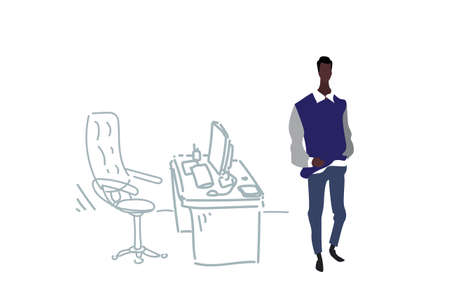 african american businessman standing near workplace modern cabinet elegant male boss business man cartoon character full length office interior sketch doodle horizontal vector illustration