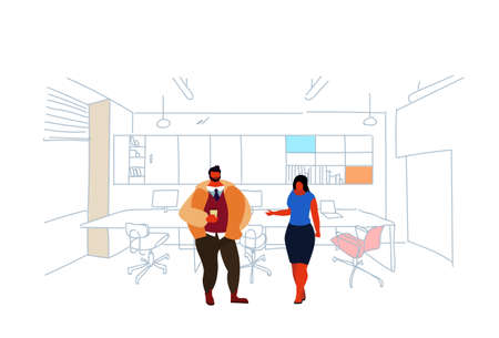 business people standing coworking space couple man woman colleagues brainstorming modern office interior creative workplace co working sketch doodle horizontal vector illustration
