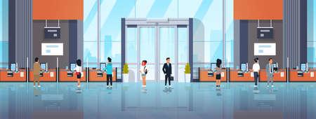 personnes clients utilisant des machines en libre-service terminaux de paiement fenêtres opérations financières concept équipement bancaire moderne banque bureau intérieur bannière horizontale plate illustration vectorielle