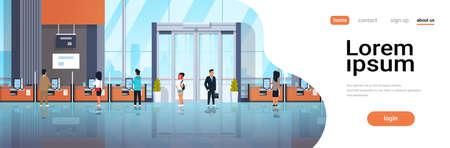 personnes clients utilisant des machines en libre-service terminaux de paiement fenêtres opérations financières concept équipement bancaire moderne banque bureau intérieur horizontal copie espace illustration vectorielle Vecteurs