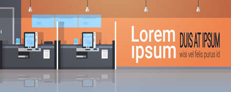 row self service machines payment terminal windows financial operations concept banking equipment modern bank office interior horizontal banner copy space flat vector illustration