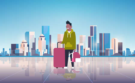 man tourist holding luggage backpack happy guy over modern city building skyscraper cityscape background traveling concept flat horizontal vector illustration