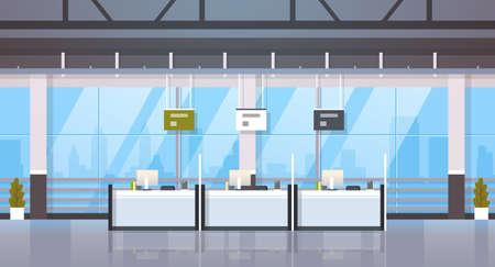 sportello di cassa windows finanziario cambio valuta centro di consulenza concetto attrezzature bancarie banca moderna ufficio reception interno banner orizzontale piatto illustrazione vettoriale