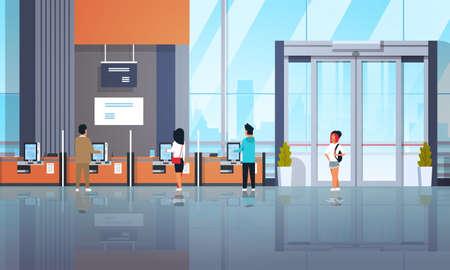 personnes clients utilisant des machines en libre-service terminaux de paiement windows concept d'opérations financières équipement bancaire moderne banque bureau intérieur horizontal plat illustration vectorielle Vecteurs