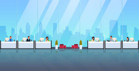 men women cashiers sitting at cash desk windows financial currency exchange consulting service concept male female workers modern bank office interior horizontal flat vector illustration