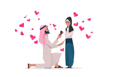 arab man kneeling holding engagement ring proposing arabic woman marry him happy valentines day concept couple in love marriage offer over heart shapes horizontal vector illustration