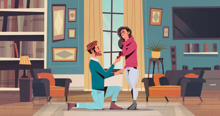 man kneeling holding engagement ring proposing woman marry him happy valentines day concept couple in love marriage offer living room interior horizontal flat vector illustration Stock Illustratie