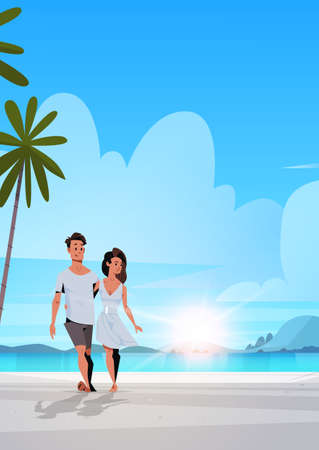 couple in love man woman embracing on tropical island sea beach sunrise seascape summer vacation concept landscape background full length flat vertical vector illustration