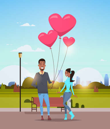 man giving woman pink heart shape air balloons happy valentines day concept african american couple in love over city urban park cityscape background vertical flat vector illustration