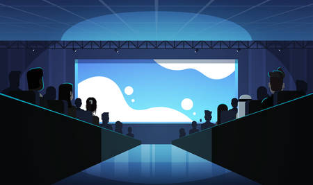 people group sitting cinema rows back rear view mix race crowd watching movie premiere on screen dark hall background flat horizontal vector illustration 向量圖像