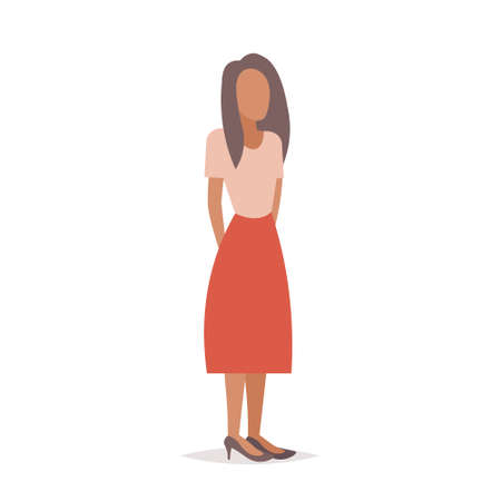 brown hair businesswoman female boss or secretary office worker elegant business woman standing pose full length cartoon character flat isolated vector illustration