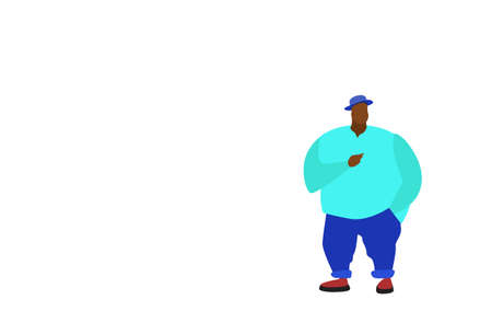 african american big fat man standing pose full length male cartoon character flat isolated horizontal vector illustration
