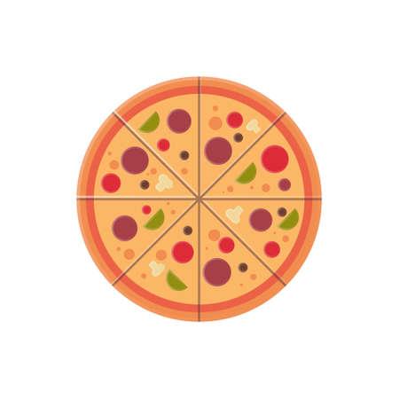 Icono de rebanadas de pizza redonda concepto de menú de comida rápida aislado sobre fondo blanco ilustración vectorial plana