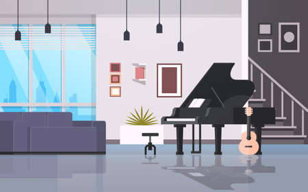 contemporary home hall musical instruments piano guitar empty house room modern apartment interior flat horizontal vector illustration 向量圖像
