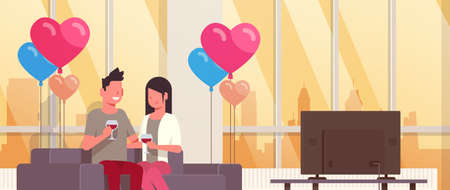 couple drinking wine man woman lovers watching tv on couch modern apartment home interior air heart shape balloons happy valentines day holiday concept flat horizontal vector illustration