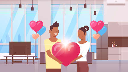 couple holding pink heart shape happy valentines day concept african american man woman lovers standing together modern apartment interior colorful air balloons flat horizontal vector illustration
